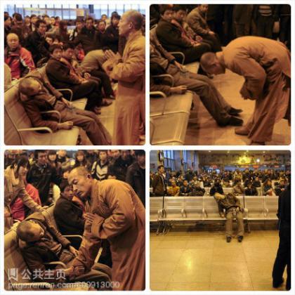 太原火车站候车室,一位老人猝死,正在候车的一位僧人为老人超度。震惊君感叹:这个握手,超越一切!大师给予的是一种爱,围观的群众给予的却是另一种眼神,人还是有信仰好,愿老人安息,感谢慈悲的大师,南无阿弥陀佛。.jpg