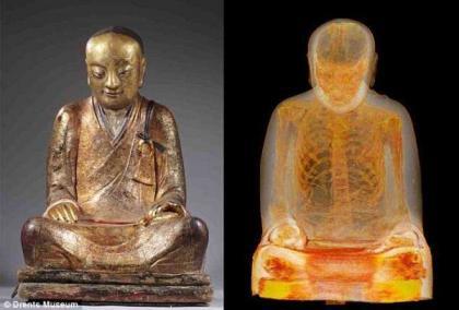 中国千年佛像内惊现木乃伊打坐和尚 内脏被掏空